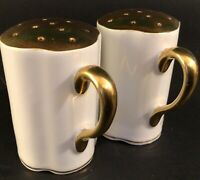 PORCELAIN SALT AND PEPPER SHAKERS GERMANY VINTAGE GOLD AND WHITE