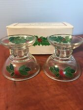 Avon 1981 Holiday Hostess Collection Holly Berry Clear Glass Candle Holders