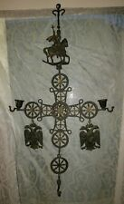 Vintage Hanging Brass Byzantine Cross Candle Holders