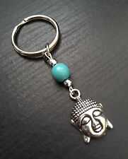 Silver Tone Buddha Keyring / Bag Charm With Turquoise Bead, Great Gift