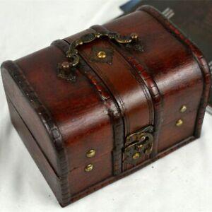Organizer Wooden Vintage Holder Pirate Storage Box Chic Treasure Chest Jewellery