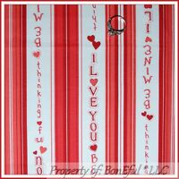 BonEful FABRIC FQ Cotton Quilt Red White Stripe Valentine Word Heart Holiday VTG