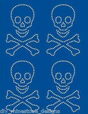Iron-On Nailhead  Design Skull and Cross Bones 4 Pc DIY Transfer Motif Any Color