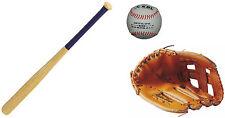 kit batte bois 27 pouces + Gant baseball 10 ' Gants Gauche pour droitier + balle