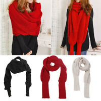 Unisex Fashion Winter Autumn Warm Knitted Scarf with Sleeves Long Wraps Shawls