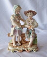 Vintage HP German Bisque Boy & Girl Figurine Crossed Swords Mark