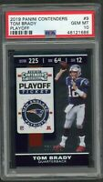 Tom Brady Patriots 2019 Panini Contenders Playoff Football Card #9 PSA 10 60/175