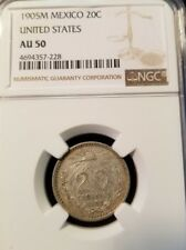 1905 M Mexico 20 Centavos Ngc Au 50 First Year Very Scarce In High Grade !