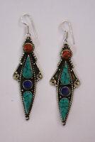 ethnic handmade classic hook sterling silver earrings tops turquoise ER6