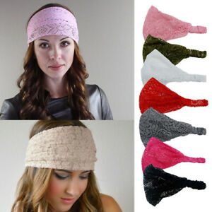 Fashion Plain Lace Headband Headwrap Women Stretchy Wide Hairlace Bandeau Snood