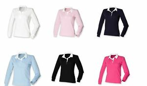 Front Row Self Coloured Ladies Long Sleeve Cotton Rugby Shirt FR77
