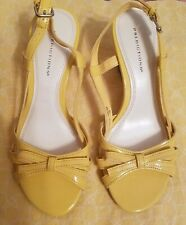Predictions patent faux leather slingback wedge sandal bow yellow size 5 New
