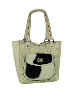 Montana West Trinity Ranch Hair-On Leather Trim Tooled Concealed Carry Tote Bag