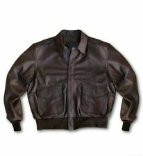 Men Genuine Leather Jacket Aviator A-2 Flight Pilot Style Sheep Bomber