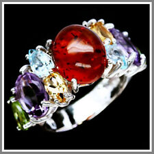NATURAL! 10 X 12mm. ORANGE AMBER, AMETHYST, PERIDOT.925 STERLING SILVER RING7.5