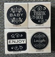 Stampin' Up LOVELY LABELS Set of 4 Wood Mounted Rubber Stamps Lot Baby Thank You
