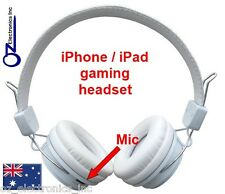 Rechargeable Gaming Headphones iphone ipad wireless bluetooth WHITE FREE POSTAGE