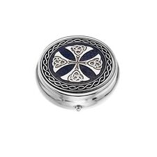 Large Pill Box Silver Plated Celtic Cross Purple Brand New & Boxed