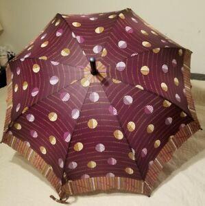 Mespo Umbrella Wood Purple Circle Polka Dot Bubbles Umbrella