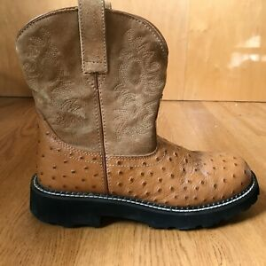 Ariat Fatbaby Cowboy Boots Women's 9 B Brown Ostrich Leather Western Roper