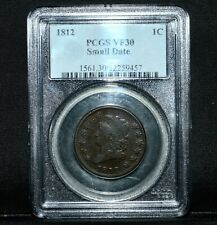 1812 CLASSIC HEAD LARGE CENT ✪ PCGS VF-30 ✪ 1C SMALL DATE VERY FINE ◢TRUSTED◣