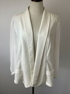 CITY CHIC CREAM OFF WHITE SHEER SLEEVE JACKET BLAZER AS NEW PLUS SIZE L/16/18