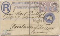 GB 1897 QV Jubilee 5D Type II (2) uprated on stationery R-cvr UPPER-THAMES-St.