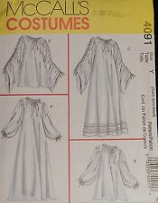 McCall Costume 4091 Medieval Chemise Gown Dress Shirt Sewing PATTERN UnCUT 4-14