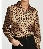 New DL1961 X Marianna Hewitt Blouse Womens Medium Leopard Print Silk Top
