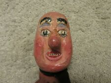 Old bald man hand puppet play show theatre vintage