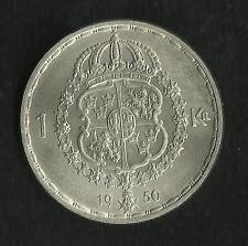 Suède : 1 Krona Argent 1950 ; Qualité