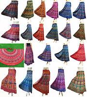 Indian Women Wrap Around Art Ethnic Print Rapron Printed Cotton Long Size Skirt