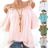 Summer Women Cold Shoulder Round Neck T Shirt Lace Casual Blouse Loose Tunic Top