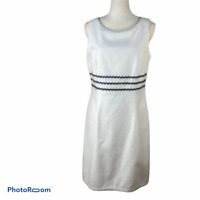Liz Claiborne Dress Sheath Size 10 Sleeveless White Cotton Stretch Black detail