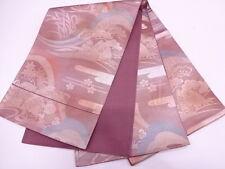 Vintage Japanese Dusky Mauve Silk Fukuro-Obi 'SHOCHIKUBAI 3 Friends of Winter'