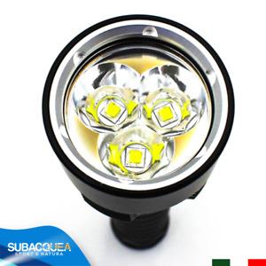 TORCIA SUBACQUEA RICARICABILE A 3 LED CREE PER SUB DIVING SCUBA LAMPADA LUMEN
