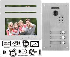 """2 Draht BUS Videotürsprechanlage 7"""" Monitor 170° Fischaugenkamera 3-Familienhaus"""