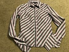 EXPRESS Stretch Purple Gray Striped Casual Long Sleeve Blouse Shirt Top womens 2