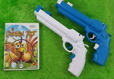 wii CHICKEN RIOT + 2 REVOLVER Attachments Pistol Chicken Blaster Action PAL UK