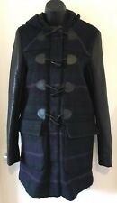 ZARA GREEN BLUE CHECKED DUFFLE COAT WITH HOOD FAUX LEATHER SLEEVES Size S Uk 10