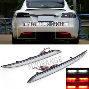 LED Bumper Reflector Rear Stop Brake Lights Clear Lens For Tesla Model S 2012-up
