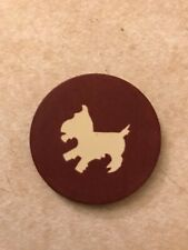 Red Scotty Dog VERY RARE Early 1900s Clay Poker Chip Scottish