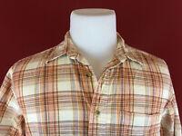 L.L.Bean Brown Plaid Short Sleeve Button Up Shirt Mens Medium