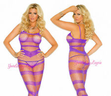 Plus Size PURPLE BODY STOCKING Strappy Geometric Pattern CROTCHLESS Lycra QUEEN