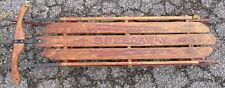 "VINTAGE WOOD SLED Speedway by Gladding 61"" With Steering"