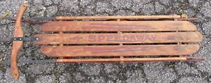 """VINTAGE WOOD SLED Speedway by Gladding 61"""" With Steering Snow Ready"""