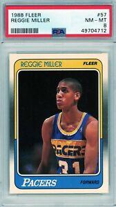 1988 Fleer # 57 Reggie Miller RC PSA 8 NM-MT Pacers UCLA Rookie