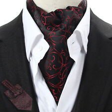 LJ09-01 Black / Red Floral Men 100% Silk Ascot Tie Cravat Scarf Accessory Ties