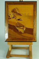 Marquetry Inlaid Wood Picture of a Fishing Boat Made in Latvia