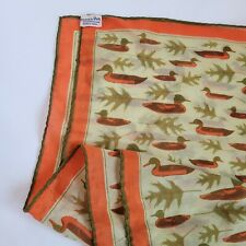 Vintage Vera Neumann silk scarf ducks vinal silk blend Japan Orange Green Oak
